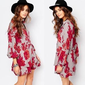 Free People Floral Shake it Long Sleeve Dress